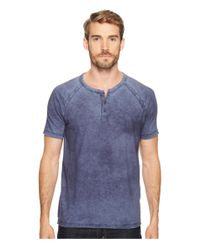 Lucky Brand - Blue Pigment Dyed Henley for Men - Lyst