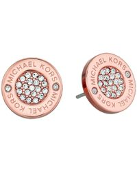 Michael Kors - Metallic Logo With Clear Pavé Center Stud Earring - Lyst
