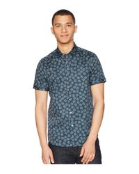 Ted Baker Blue Tern Short Sleeve Square Geo Print Shirt (navy) Clothing for men