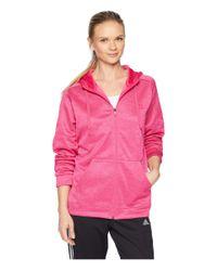 Adidas - Pink Team Issue Full Zip Hoodie (real Magenta) Women's Sweatshirt - Lyst