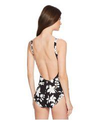 MICHAEL Michael Kors - Floral Vine One-piece Swimsuit W/ High Leg Ruffles Removable Soft Cups (black) Women's Swimsuits One Piece - Lyst