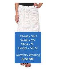 XCVI - White Stretch Poplin Double Shirred Panel Skirt - Lyst