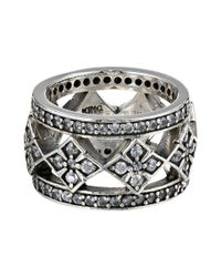 King Baby Studio - Metallic Wide Band Ring W/ Mb Cross And Cz - Lyst