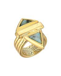 House of Harlow 1960 - Metallic Pyramid Stone Ring (gold/kiwi) Ring - Lyst