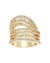 Guess - Metallic Look Of Six Dainty Pave Bands Ring - Lyst