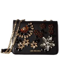 Love Moschino - Crossbody Bag With Stone Detailing (black) Cross Body Handbags - Lyst