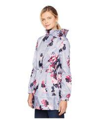Joules - Gray Golightly Waterproof Packaway Coat (harvest Floral Plum Stripe) Women's Coat - Lyst