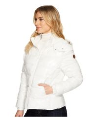 Save The Duck - White Short Coat With Removable Hood - Lyst