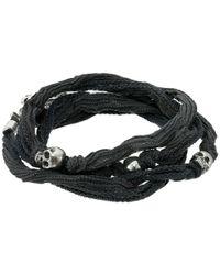 King Baby Studio - Multicolor Multi Wrap Charcoal Silk Bracelet With Skulls - Lyst