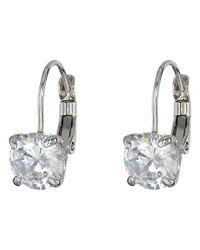 Cole Haan - Metallic Lever Back Cubic Zirconia Earrings (silver/crystal) Earring - Lyst