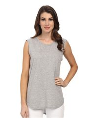 Michael Stars - Gray Hi-low Muscle Tank Top - Lyst