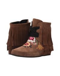 Etro - Brown Embroidered Fringe Bootie - Lyst