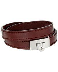 Ferragamo - Brown Leather Wrap Bracelet - Lyst