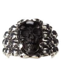 King Baby Studio   Metallic Rainbow Obsidian Carved Skull In Silver Skull Frame   Lyst