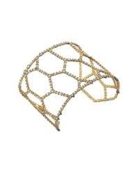 Alexis Bittar | Metallic Crystal Encrusted Honeycomb Cuff W/ Spike Accent Bracelet | Lyst