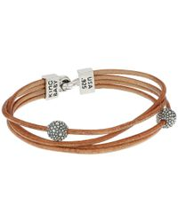 King Baby Studio - Multi Strand Brown Leather Cord Bracelet W/ Hook Clasp And Stingray Beads - Lyst
