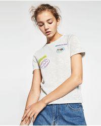 Zara | Metallic Patch T-shirt | Lyst