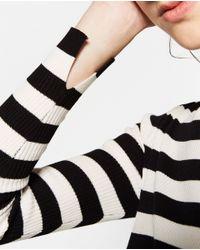 Zara | Brown Cropped Striped Sweater | Lyst