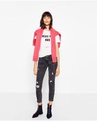 Zara | Blue Skinny Trousers With Zip | Lyst