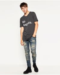 Zara | Gray Ripped T-shirt for Men | Lyst