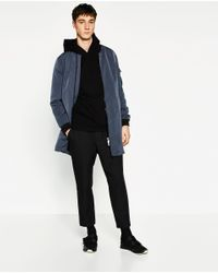 Zara | Blue Long Bomber Jacket for Men | Lyst