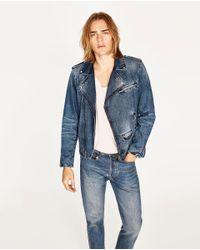 Zara | Blue Denim Biker Jacket for Men | Lyst