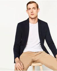 Zara   Blue Basic Blazer for Men   Lyst