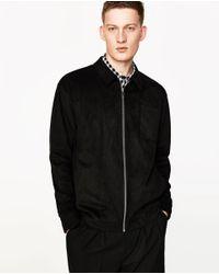Zara   Black Faux Suede Worker Jacket for Men   Lyst