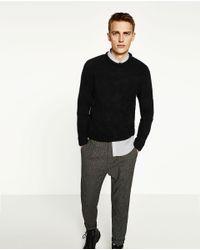 Zara | Black Textured Weave Argyle Sweater for Men | Lyst