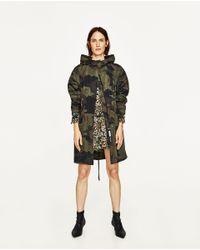 Zara   Multicolor Camouflage Print Parka   Lyst