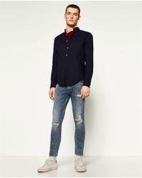 Zara   Blue Raw Edge Skinny Jeans for Men   Lyst