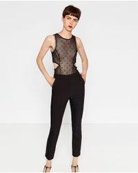 Zara   Black High Waist Skinny Trousers   Lyst