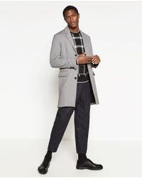 Zara | Gray Knit Coat for Men | Lyst