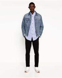Zara | Blue Printed Piqué Shirt for Men | Lyst