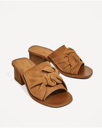 Zara | Brown Knotted Slingback High Heel Leather Shoes | Lyst
