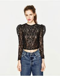 Zara   Black Cropped T-shirt With Lace   Lyst
