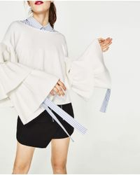 Zara | White Soft Sweater With Frilled Sleeves | Lyst
