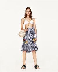 Zara | Blue Gingham Embroidered Skirt | Lyst