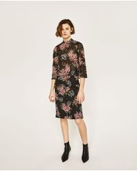 Zara | Black Floral Print Guipure Lace Top | Lyst