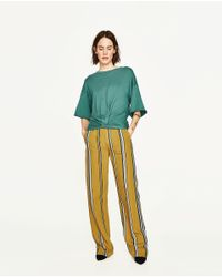 Zara | Green Top With Front Knot | Lyst