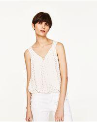 Zara | White Polka Dot Top | Lyst
