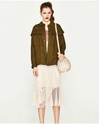 Zara | Multicolor Overshirt With Frills | Lyst