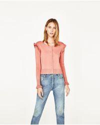 Zara | Pink Cardigan With Frills | Lyst
