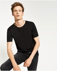 Zara   Black Short Sleeve T-shirt for Men   Lyst