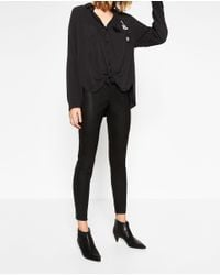 Zara   Black Faux Leather Leggings   Lyst