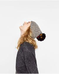 Zara | Multicolor Supersize Knit Pompom Hat | Lyst