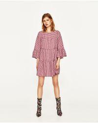 Zara | Red Gingham Mini Dress | Lyst