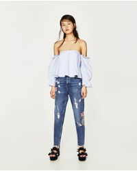 Zara | Blue High-rise Embroidered Mom Fit Jeans | Lyst