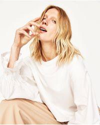 Zara | White Poplin Sleeve Sweatshirt | Lyst