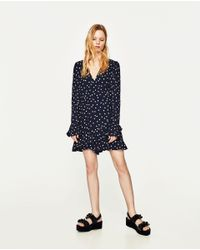 Zara | Blue Polka Dot Jumpsuit Dress | Lyst